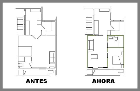 Reforma integral piso de una habitaci n rehabitat interiores for Precio reforma piso 60 metros